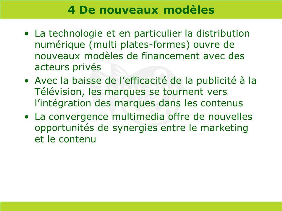 4 De nouveaux modèles La technologie et en particulier la distribution numérique (multi plates-formes) ouvre de nouveaux modèles de financement avec d