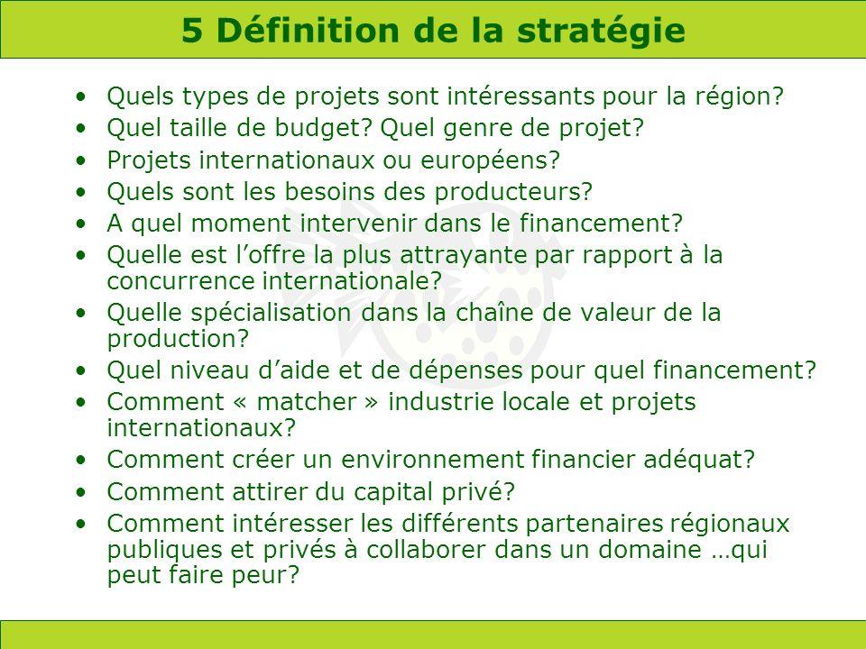 5 Définition de la stratégie Quels types de projets sont intéressants pour la région? Quel taille de budget? Quel genre de projet? Projets internation