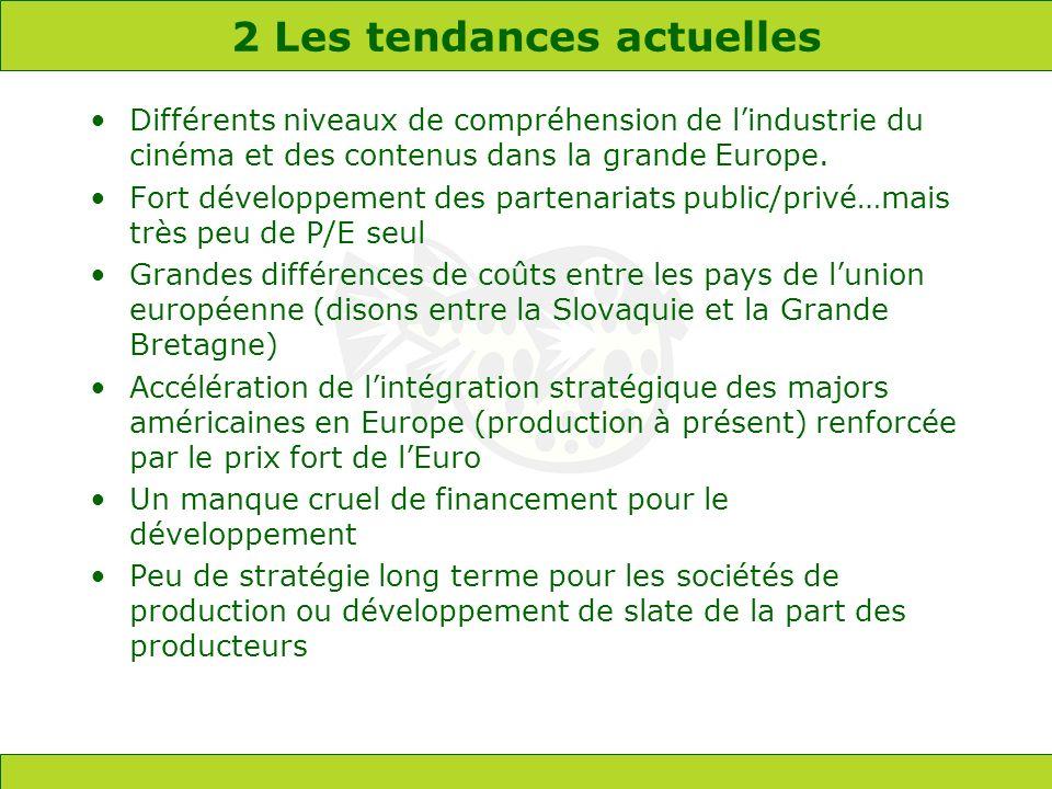 2 Les tendances actuelles Différents niveaux de compréhension de lindustrie du cinéma et des contenus dans la grande Europe. Fort développement des pa