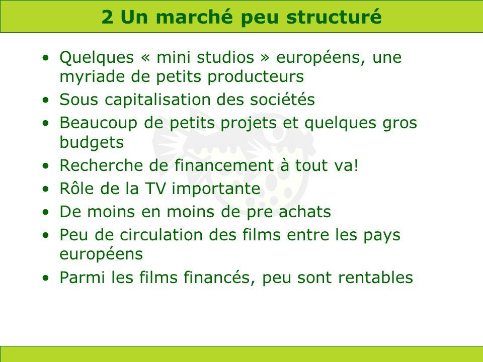 2 Un marché peu structuré Quelques « mini studios » européens, une myriade de petits producteurs Sous capitalisation des sociétés Beaucoup de petits projets et quelques gros budgets Recherche de financement à tout va.