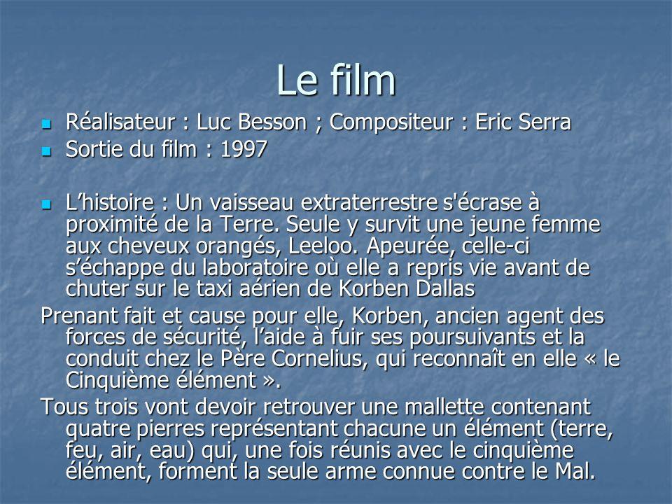 Le film Réalisateur : Luc Besson ; Compositeur : Eric Serra Réalisateur : Luc Besson ; Compositeur : Eric Serra Sortie du film : 1997 Sortie du film : 1997 Lhistoire : Un vaisseau extraterrestre s écrase à proximité de la Terre.