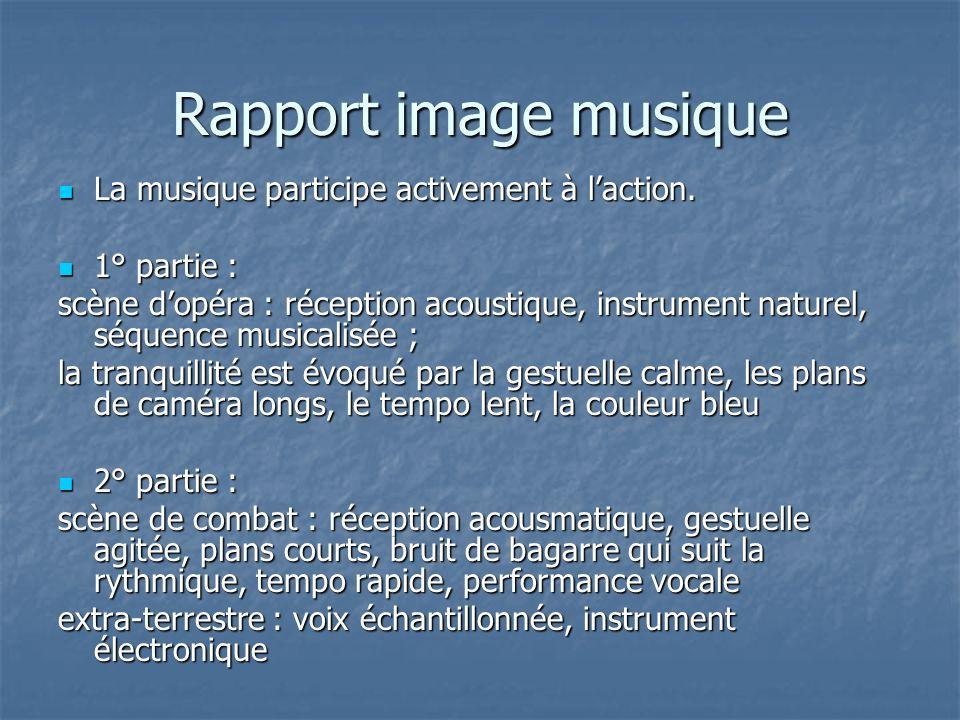 Rapport image musique La musique participe activement à laction. La musique participe activement à laction. 1° partie : 1° partie : scène dopéra : réc