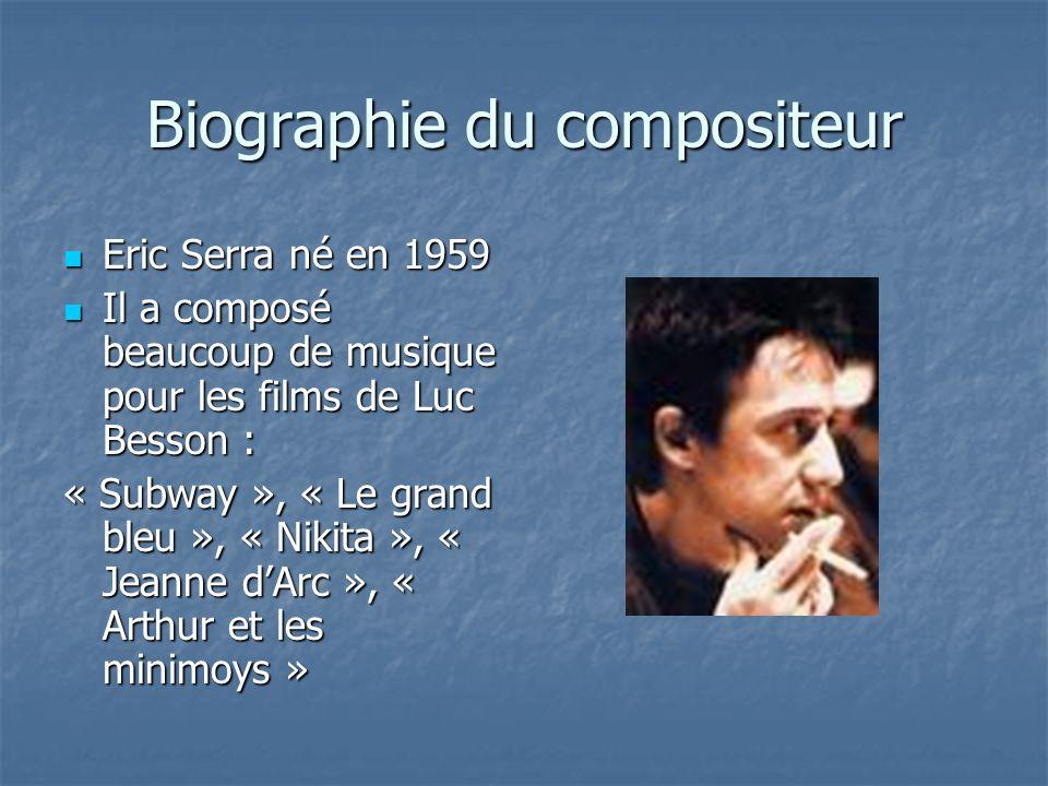 Biographie du compositeur Eric Serra né en 1959 Eric Serra né en 1959 Il a composé beaucoup de musique pour les films de Luc Besson : Il a composé beaucoup de musique pour les films de Luc Besson : « Subway », « Le grand bleu », « Nikita », « Jeanne dArc », « Arthur et les minimoys »
