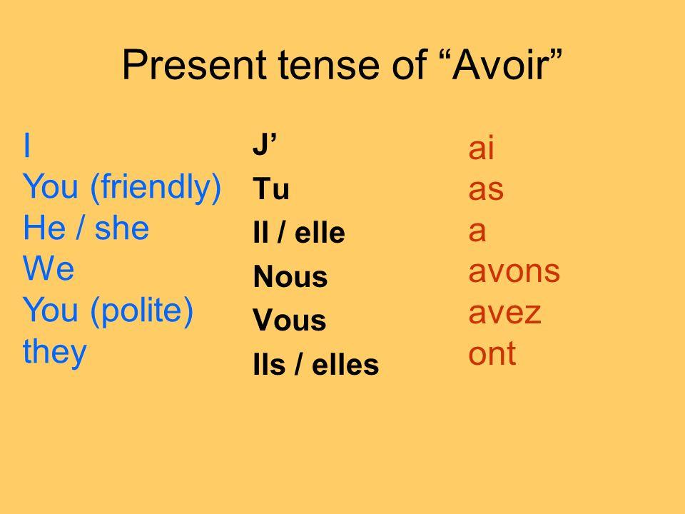 Present tense of Avoir J Tu Il / elle Nous Vous Ils / elles IYou (friendly)He / sheWeYou (polite)they ai as a avons avez ont
