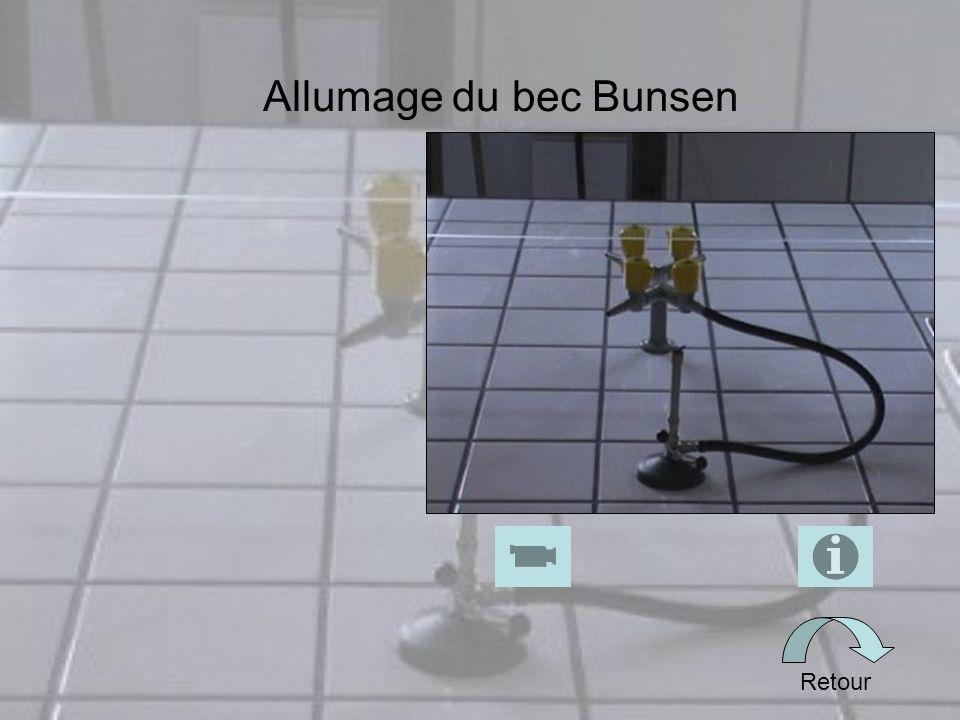 Allumage du bec Bunsen Retour