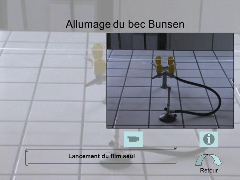 Allumage du bec Bunsen Retour Lancement du film seul