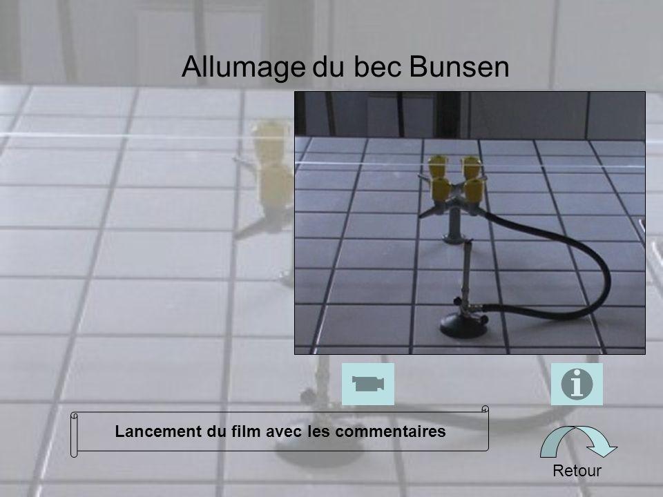 Allumage du bec Bunsen Retour Lancement du film avec les commentaires