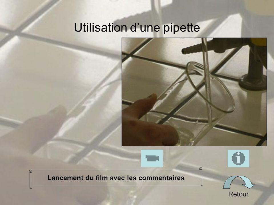 Utilisation dune pipette Retour Lancement du film avec les commentaires
