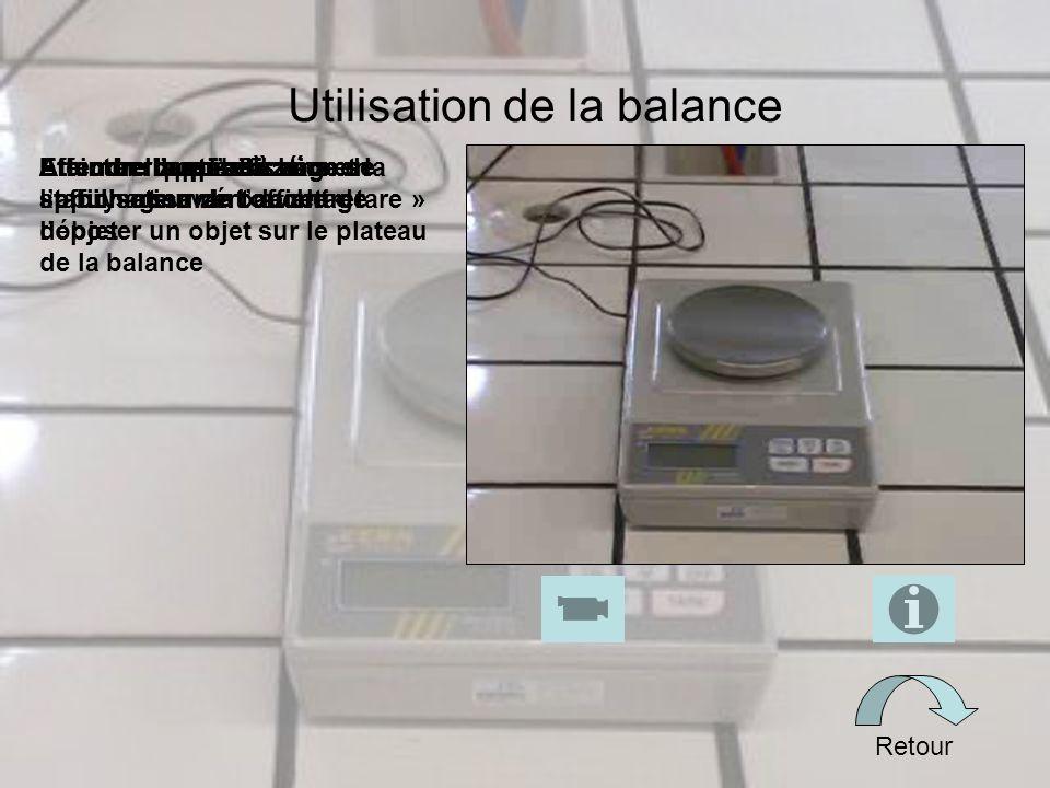 Utilisation de la balance Retour Eteindre lappareilAttendre la stabilisation de laffichage avant de retirer lobjet Effectuer la peserAttendre la mise