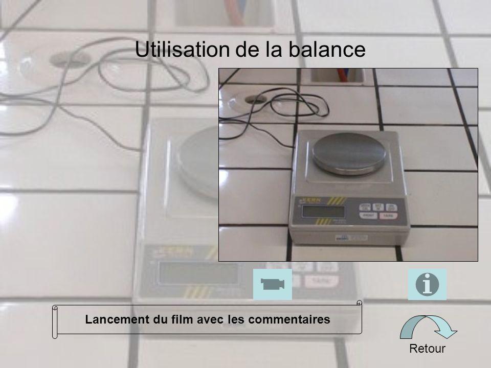 Utilisation de la balance Retour Lancement du film avec les commentaires