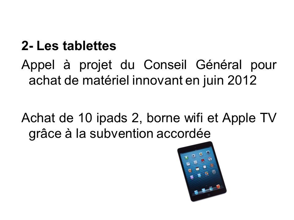 2- Les tablettes Appel à projet du Conseil Général pour achat de matériel innovant en juin 2012 Achat de 10 ipads 2, borne wifi et Apple TV grâce à la