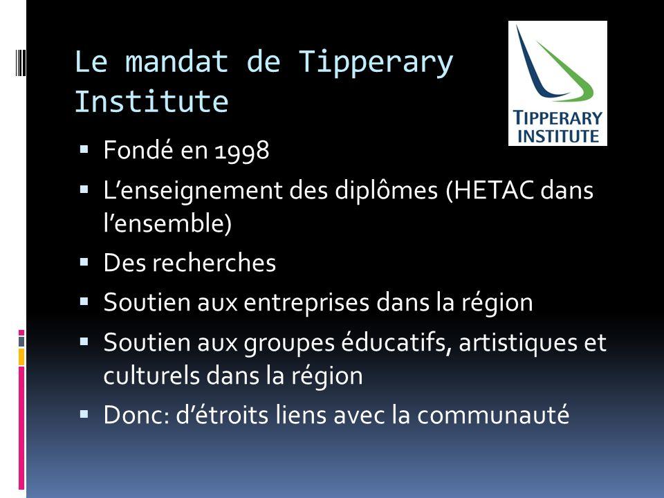 Le mandat de Tipperary Institute Fondé en 1998 Lenseignement des diplômes (HETAC dans lensemble) Des recherches Soutien aux entreprises dans la région Soutien aux groupes éducatifs, artistiques et culturels dans la région Donc: détroits liens avec la communauté