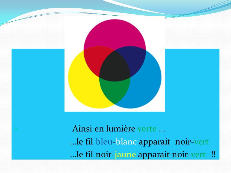 Ainsi en lumière verte … …le fil bleu-blanc apparait noir-vert …le fil noir-jaune apparait noir-vert !!