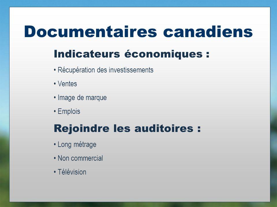 Documentaires canadiens Indicateurs économiques : Récupération des investissements Ventes Image de marque Emplois Rejoindre les auditoires : Long métrage Non commercial Télévision
