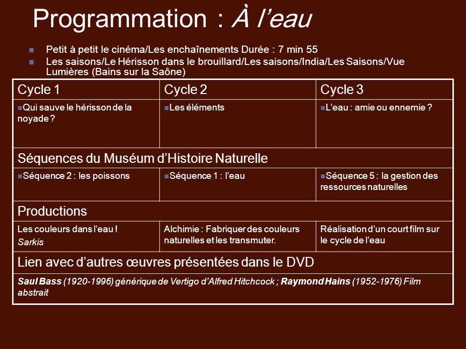Programmation : À leau Petit à petit le cinéma/Les enchaînements Durée : 7 min 55 Les saisons/Le Hérisson dans le brouillard/Les saisons/India/Les Sai