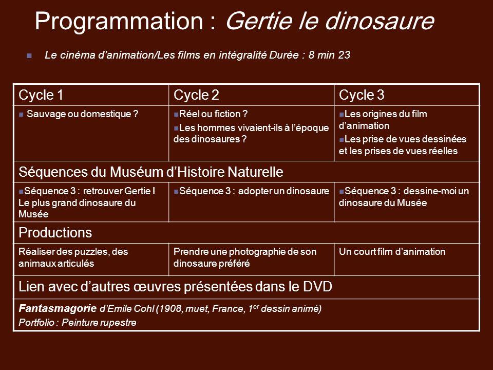 Programmation : Gertie le dinosaure Le cinéma danimation/Les films en intégralité Durée : 8 min 23 Cycle 1Cycle 2Cycle 3 Sauvage ou domestique ? Réel