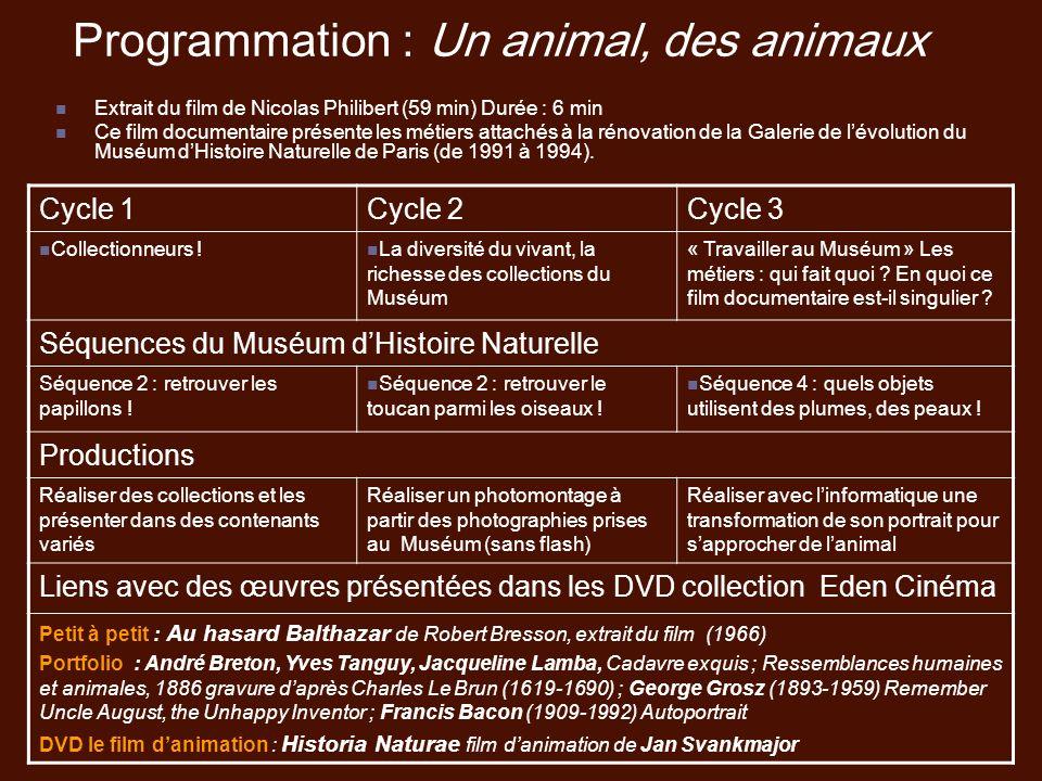 Programmation : Un animal, des animaux Extrait du film de Nicolas Philibert (59 min) Durée : 6 min Ce film documentaire présente les métiers attachés