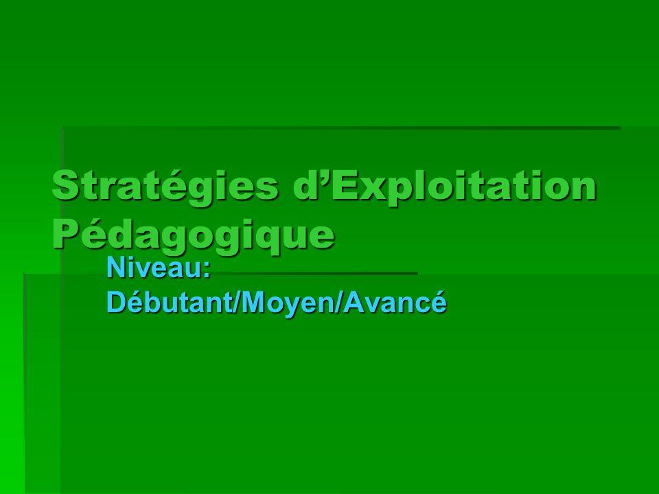 Stratégies dExploitation Pédagogique Niveau: Débutant/Moyen/Avancé
