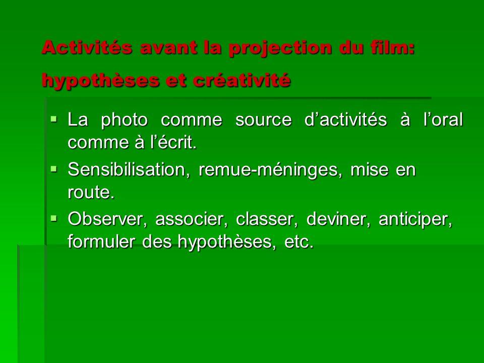 Activités avant la projection du film: hypothèses et créativité Activités avant la projection du film: hypothèses et créativité La photo comme source