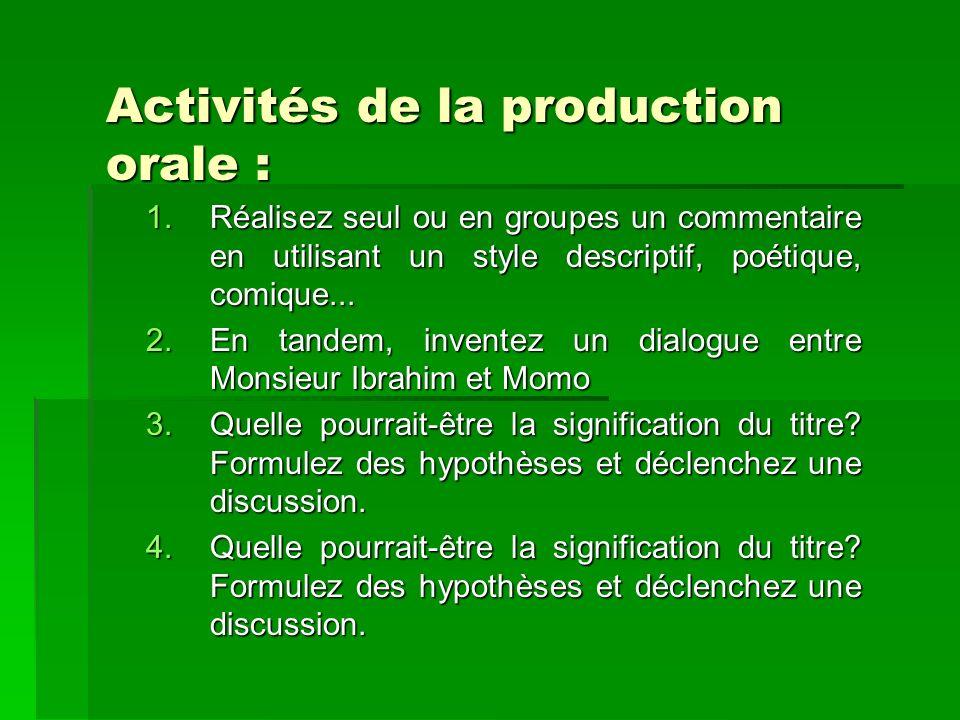 Activités de la production orale : 1.Réalisez seul ou en groupes un commentaire en utilisant un style descriptif, poétique, comique... 2.En tandem, in