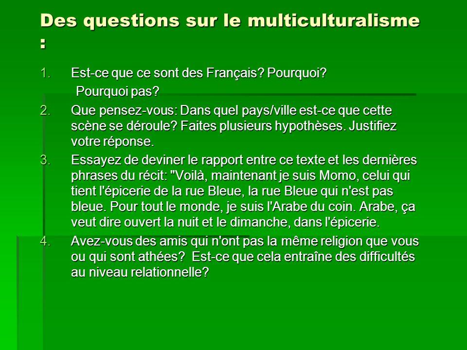 Des questions sur le multiculturalisme : 1.Est-ce que ce sont des Français? Pourquoi? Pourquoi pas? Pourquoi pas? 2.Que pensez-vous: Dans quel pays/vi