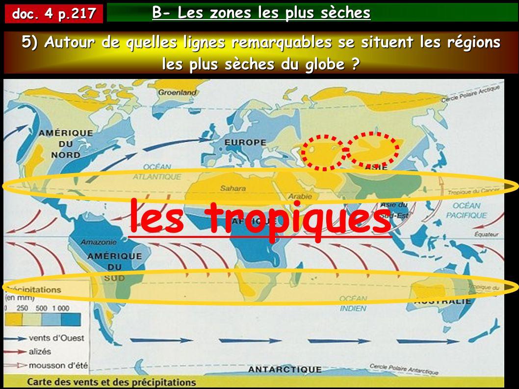 B- Les zones les plus sèches doc. 4 p.217 les tropiques 5) Autour de quelles lignes remarquables se situent les régions les plus sèches du globe ?