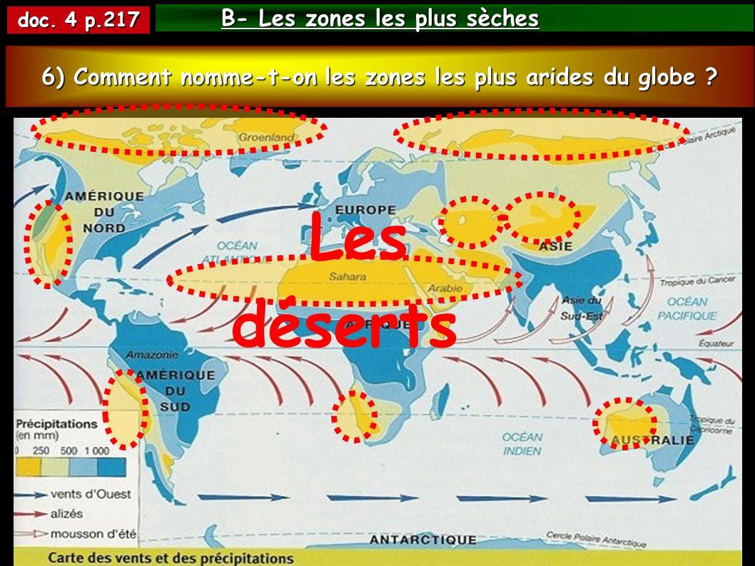 B- Les zones les plus sèches doc. 4 p.217 5) Autour de quelles lignes remarquables se situent les régions les plus sèches du globe ? 6) Comment nomme-