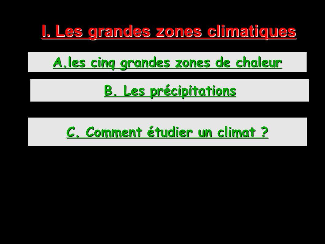 I. Les grandes zones climatiques A.les cinq grandes zones de chaleur B. Les précipitations C. Comment étudier un climat ?