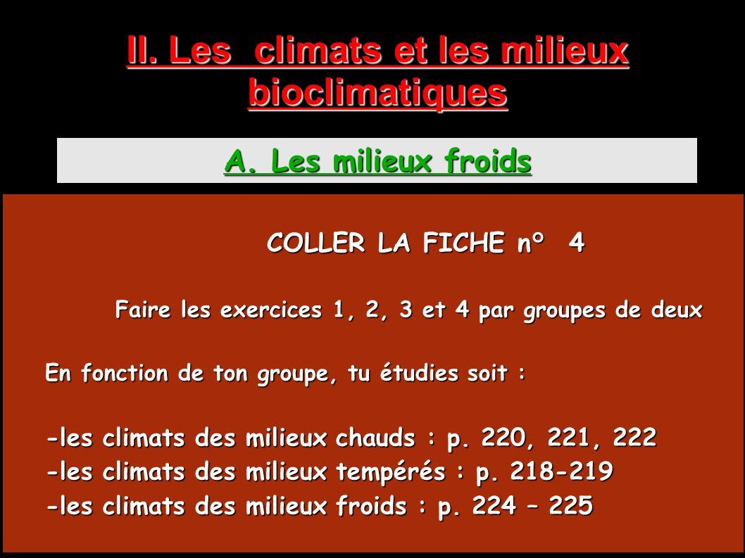 II. Les climats et les milieux bioclimatiques A. Les milieux froids COLLER LA FICHE n° 4 COLLER LA FICHE n° 4 Faire les exercices 1, 2, 3 et 4 par gro