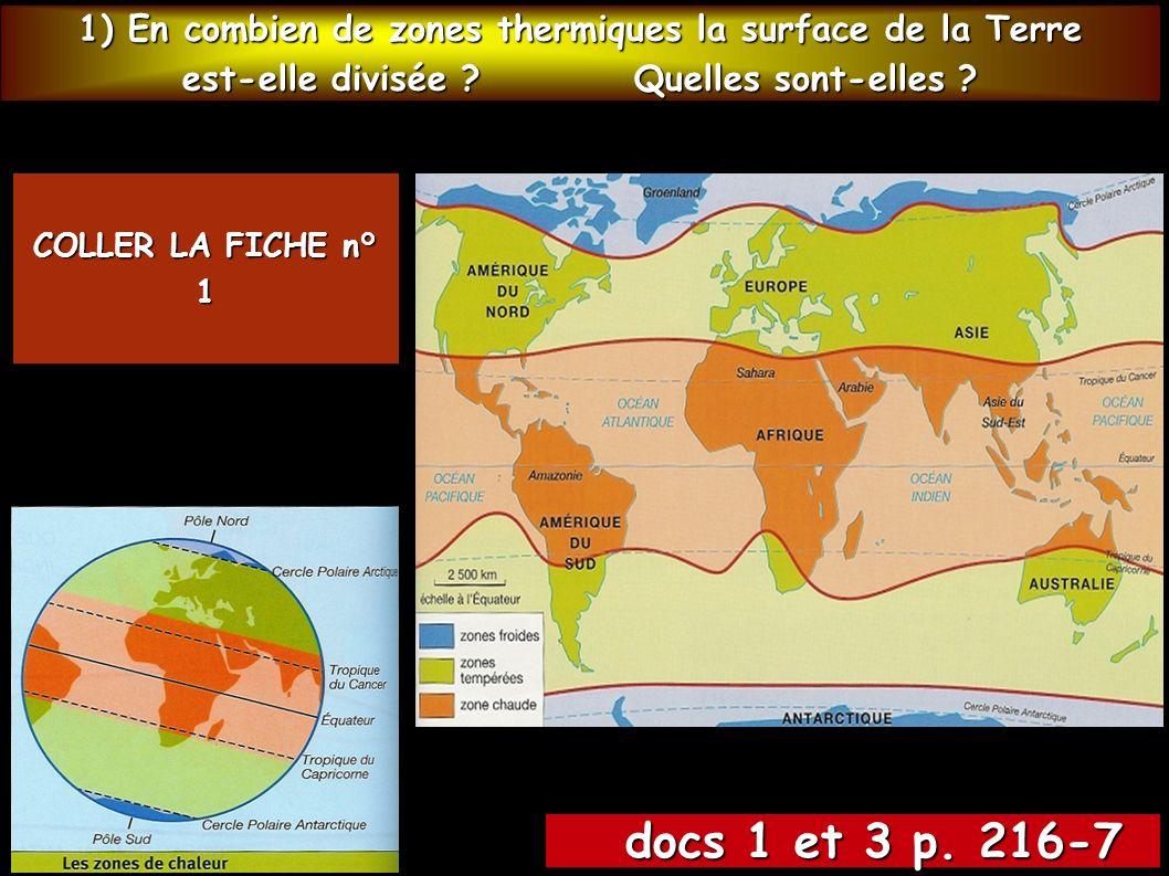 1) En combien de zones thermiques la surface de la Terre est-elle divisée ? Quelles sont-elles ? docs 1 et 3 p. 216-7 docs 1 et 3 p. 216-7 COLLER LA F