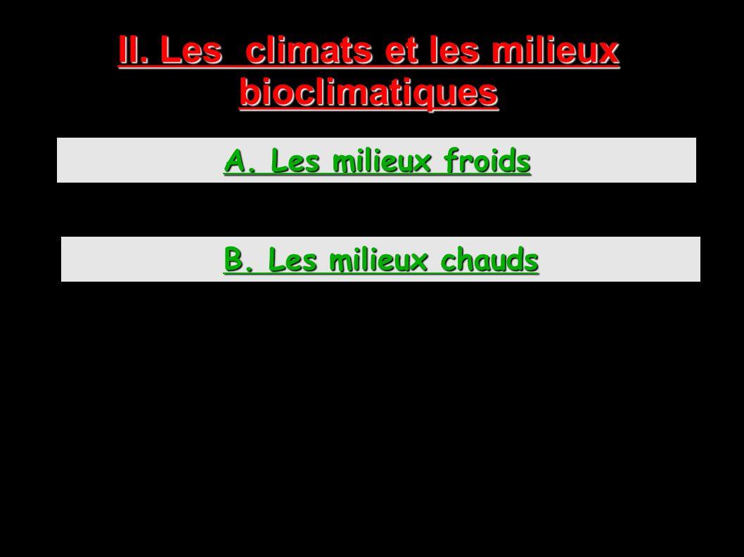 II. Les climats et les milieux bioclimatiques A. Les milieux froids B. Les milieux chauds