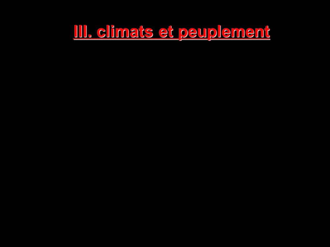 III. climats et peuplement