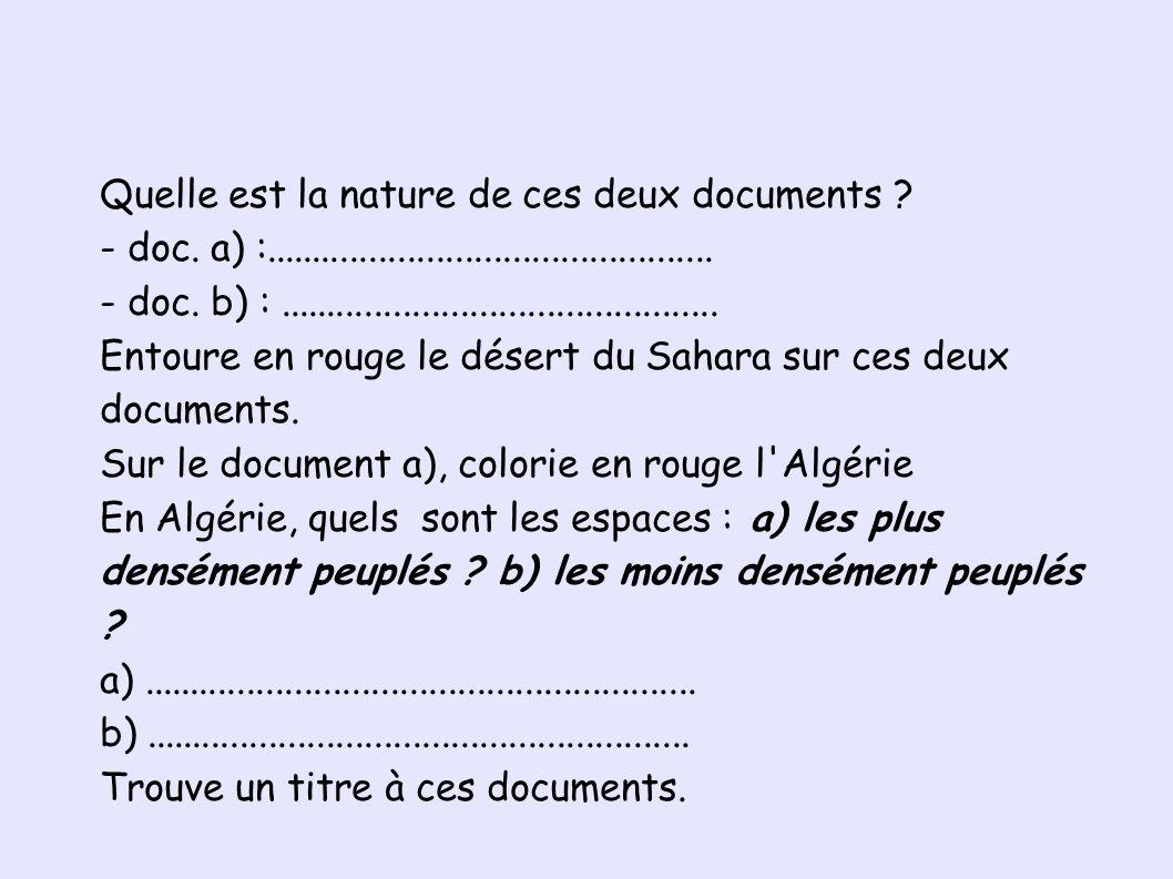 Quelle est la nature de ces deux documents ? - doc. a) :............................................... - doc. b) :...................................