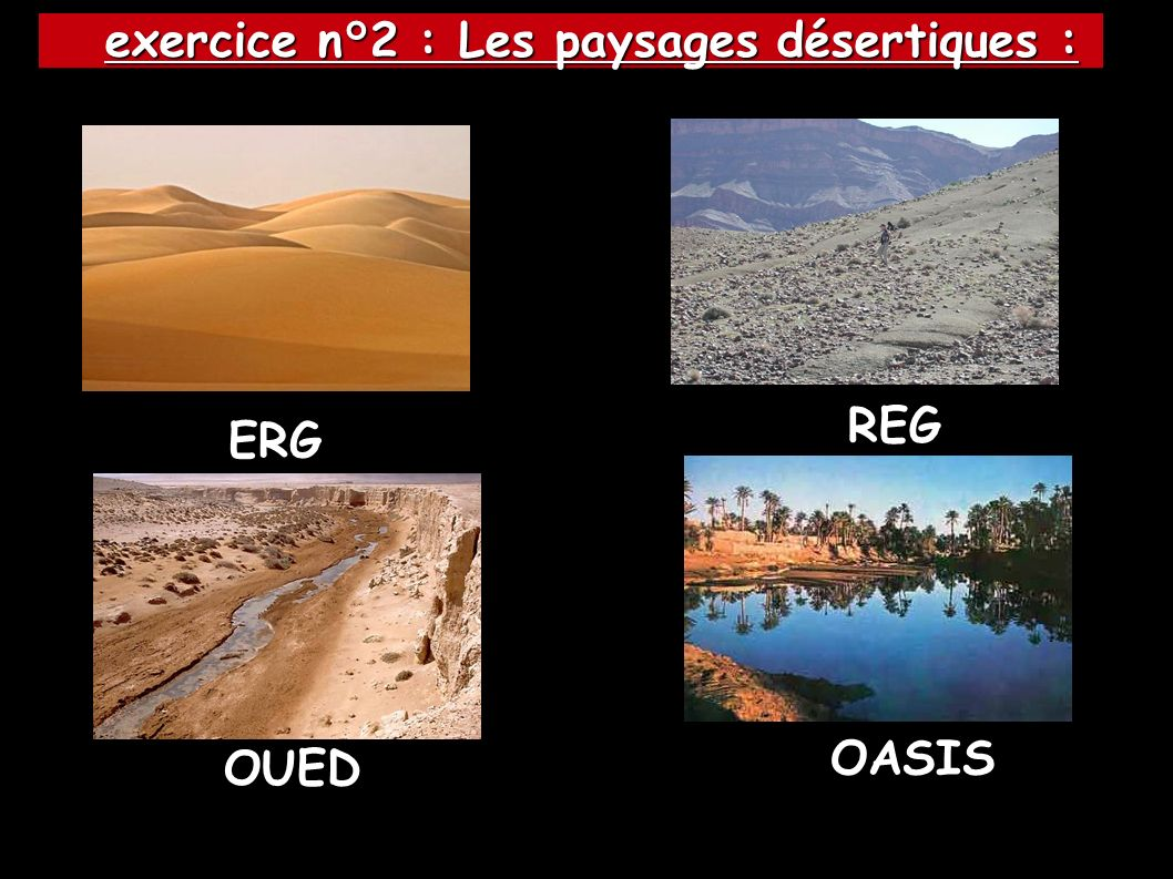OASIS OUED ERG REG exercice n°2 : Les paysages désertiques : exercice n°2 : Les paysages désertiques :