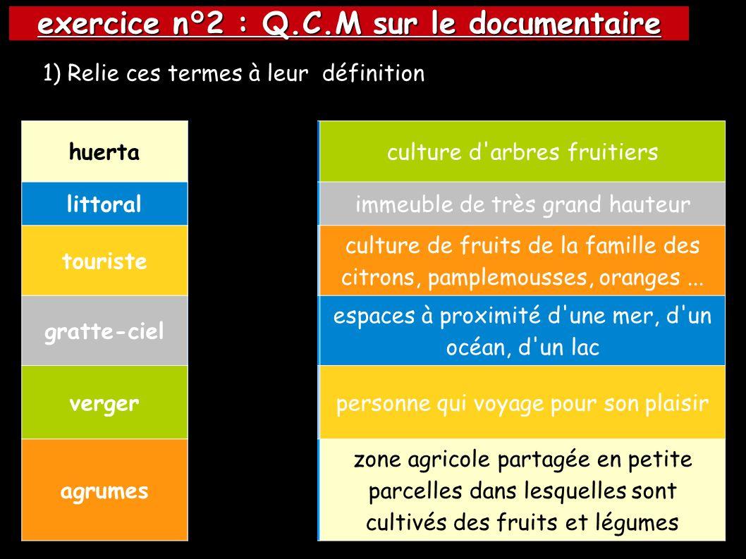 exercice n°2 : Q.C.M sur le documentaire huertaculture d arbres fruitiers littoralimmeuble de très grand hauteur touriste culture de fruits de la famille des citrons, pamplemousses, oranges...