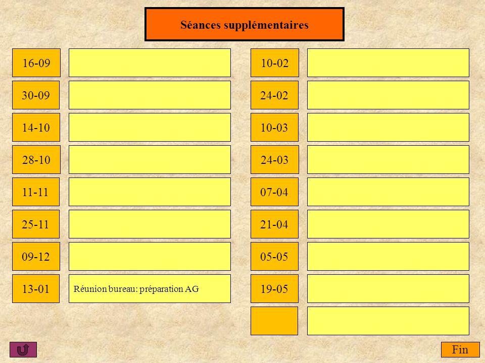 Fin Séances supplémentaires 16-09 09-12 10-02 05-05 28-1024-03 30-09 11-11 24-02 07-04 19-05 14-10 25-11 13-01 21-04 10-03 Réunion bureau: préparation