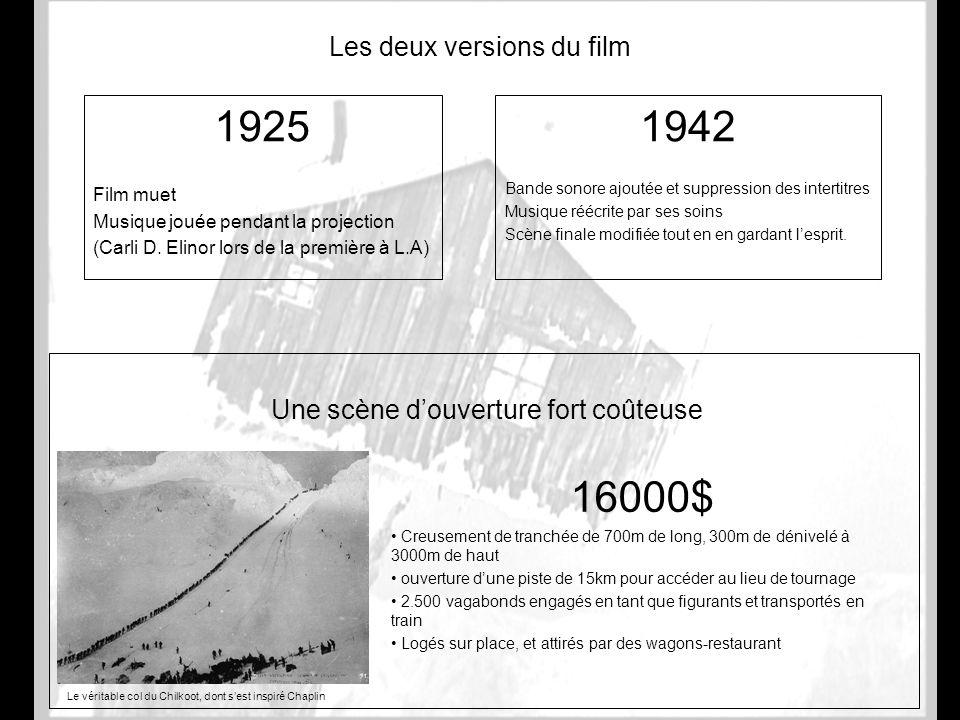 Les deux versions du film 1925 Film muet Musique jouée pendant la projection (Carli D. Elinor lors de la première à L.A) 1942 Bande sonore ajoutée et