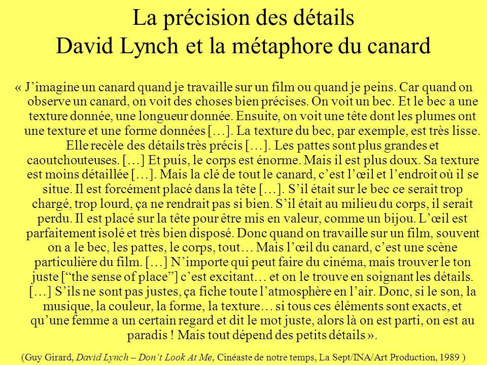 La précision des détails David Lynch et la métaphore du canard « Jimagine un canard quand je travaille sur un film ou quand je peins. Car quand on obs