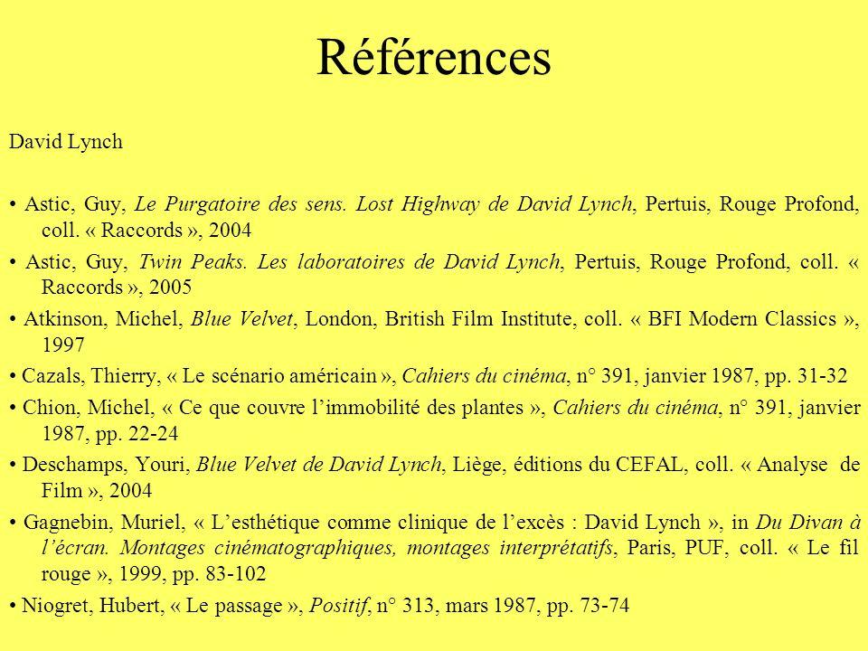 Références David Lynch Astic, Guy, Le Purgatoire des sens. Lost Highway de David Lynch, Pertuis, Rouge Profond, coll. « Raccords », 2004 Astic, Guy, T