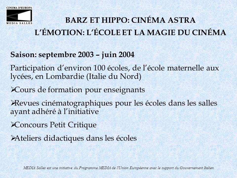 MEDIA Salles est une initiative du Programme MEDIA de l'Union Européenne avec le support du Gouvernement Italien BARZ ET HIPPO: CINÉMA ASTRA LÉMOTION: