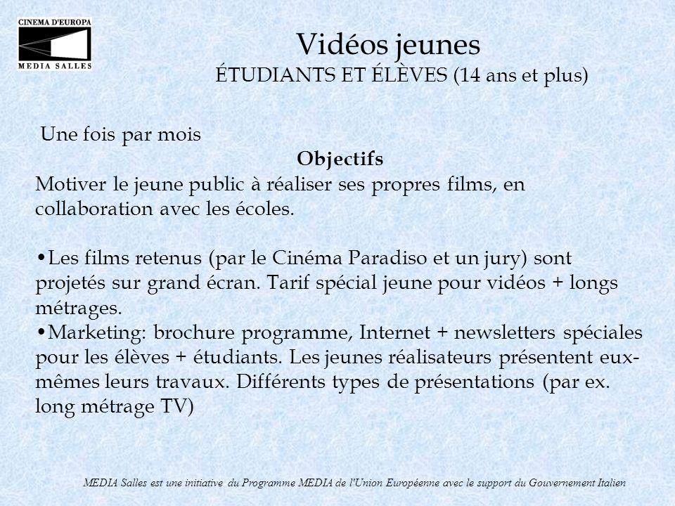 Une fois par mois Objectifs Motiver le jeune public à réaliser ses propres films, en collaboration avec les écoles. Les films retenus (par le Cinéma P