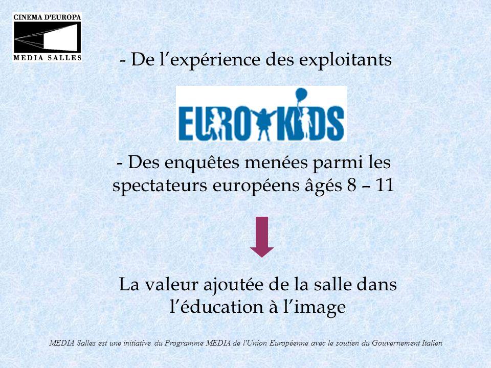 MEDIA Salles est une initiative du Programme MEDIA de l Union Européenne avec le soutien du Gouvernement Italien Daprès lenquête de MEDIA Salles sur le jeune public il ressort que seule la vision en salle peut offrir - Convivialité - Émotion