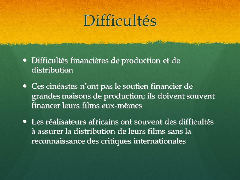 Difficultés Difficultés financières de production et de distribution Difficultés financières de production et de distribution Ces cinéastes nont pas l