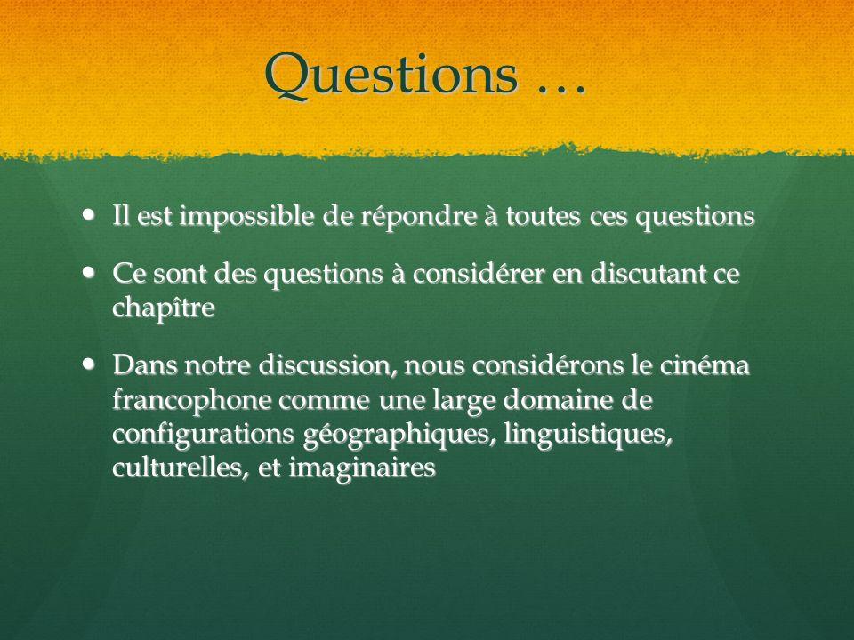 Questions … Il est impossible de répondre à toutes ces questions Il est impossible de répondre à toutes ces questions Ce sont des questions à considér