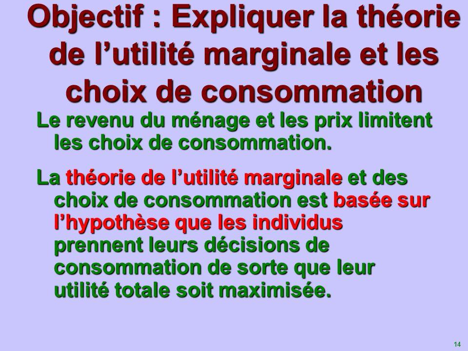 14 Objectif : Expliquer la théorie de lutilité marginale et les choix de consommation Le revenu du ménage et les prix limitent les choix de consommati