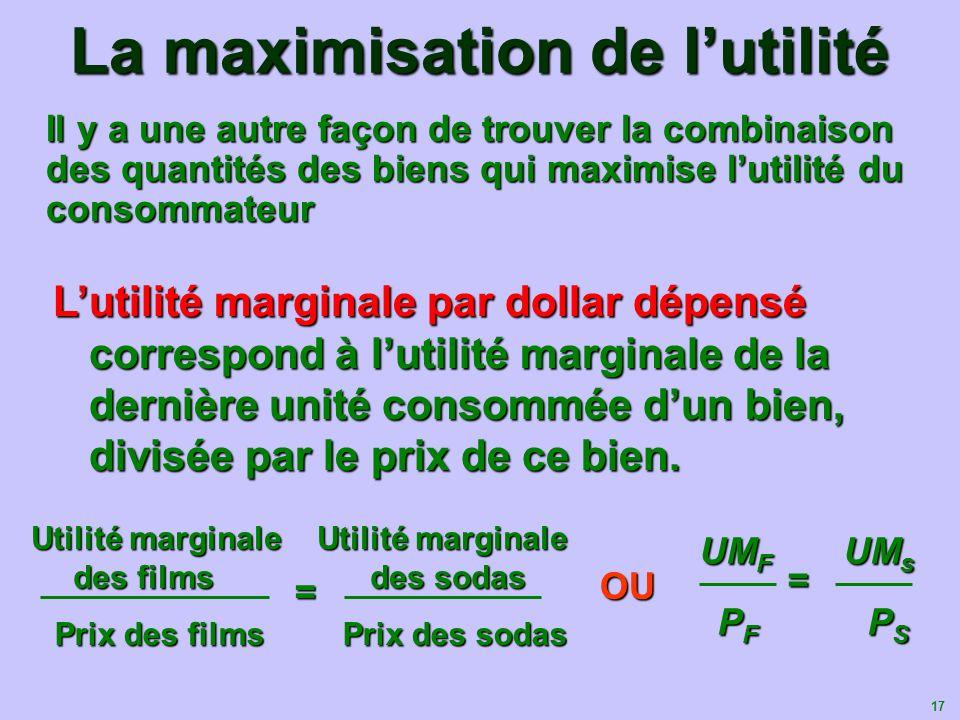 17 La maximisation de lutilité Il y a une autre façon de trouver la combinaison des quantités des biens qui maximise lutilité du consommateur Lutilité