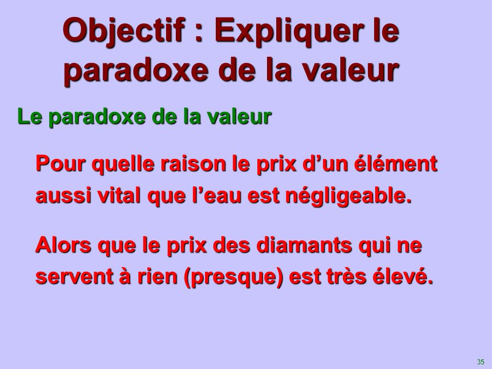 36 Le paradoxe de la valeur Surplus du Consommateur de leau Quantité deau Prix de leau D O POPOPOPO QOQOQOQO LOffre de leau est parfaitement élastique.