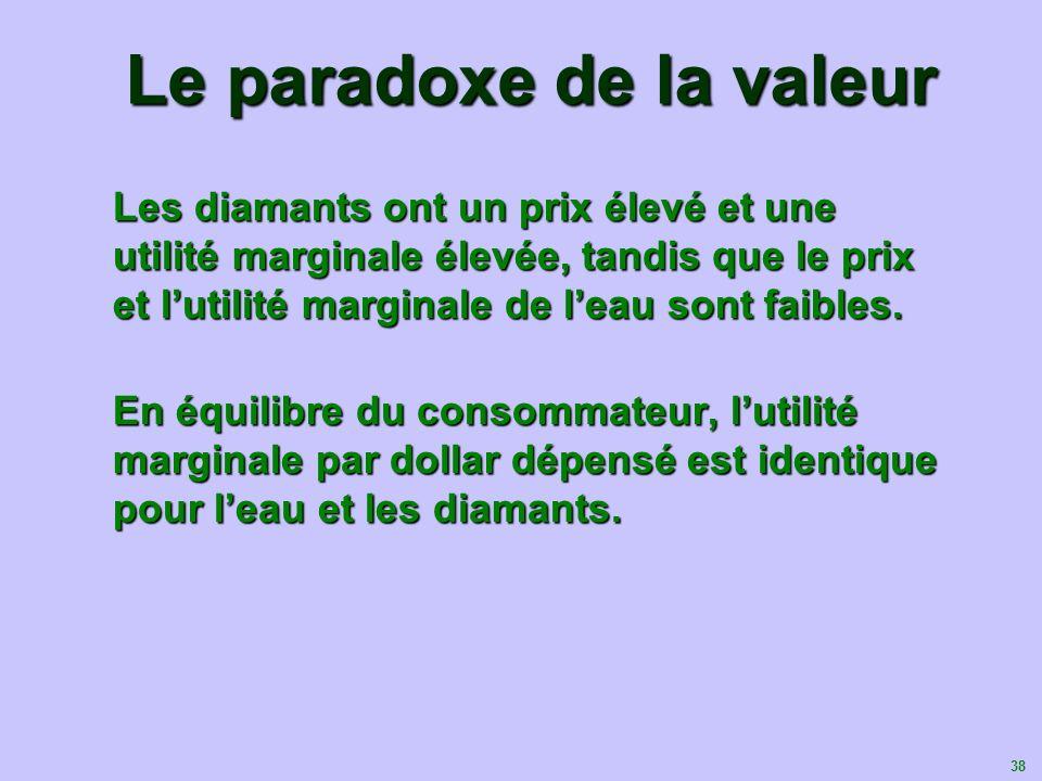 38 Le paradoxe de la valeur Les diamants ont un prix élevé et une utilité marginale élevée, tandis que le prix et lutilité marginale de leau sont faib
