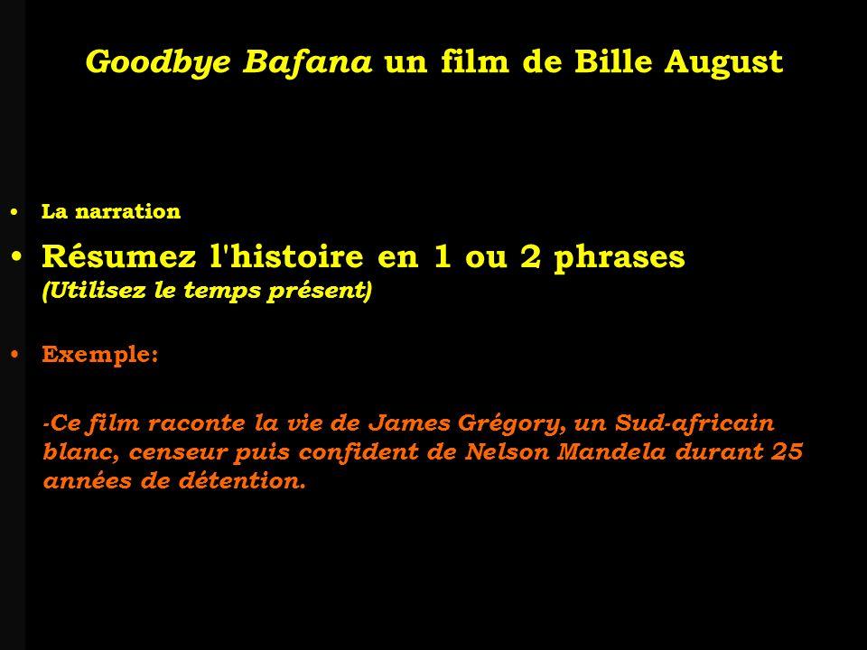 louis-jean Roparslouis-Jean ropars Goodbye Bafana un film de Bille August IV-1 Temps historique Lépoque: -Relevez les indices qui permettent de situer le film dans une période de lhistoire de lAfrique du Sud.