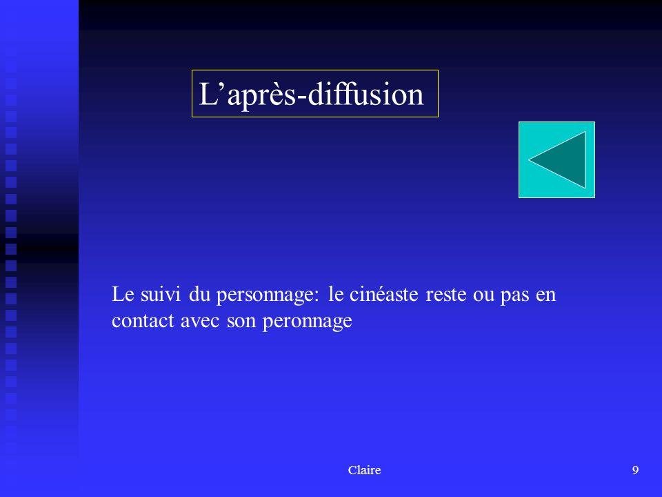 Claire9 Laprès-diffusion Le suivi du personnage: le cinéaste reste ou pas en contact avec son peronnage